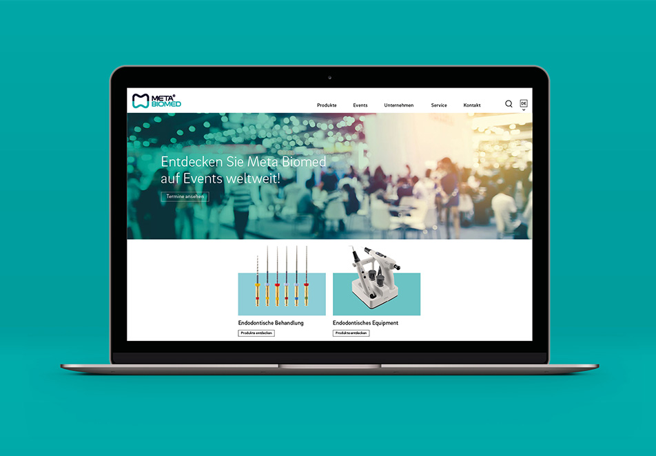 Meta Biomed Europe GmbH, Corporate Design, Corporate Identity, Webdesign, Screen Design, Typografie